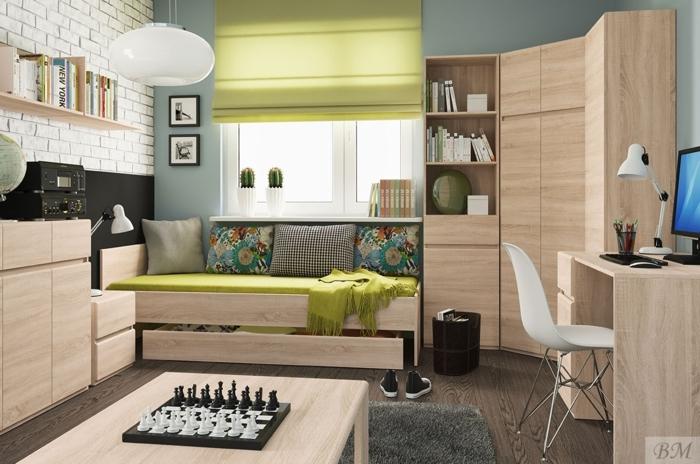 dormitorios juveniles baratos, habitación con madera clara y verde, armario y cama, mesa con ajedrez