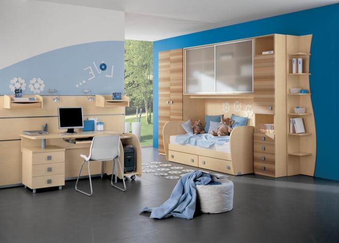 dormitorios juveniles baratos, habitación juvenil en madera clara, escritorio con ordenador, cama y armario