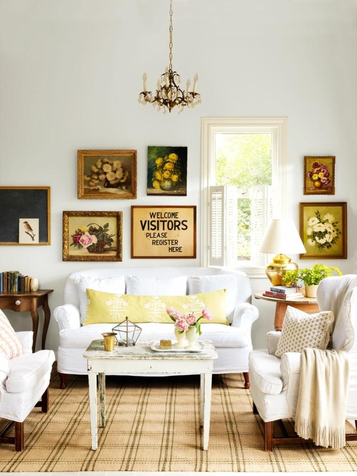 decoracion de salones, salon rustico con muebles blancos, mesa y cuadros