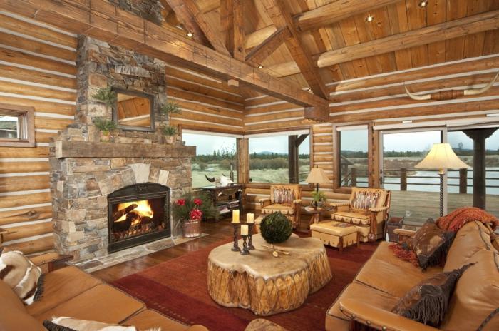 1001 ideas como decorar un salon en estilo r stico - Decoracion con vigas de madera ...