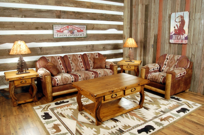 salones rusticos, mesa de madera, sofás tapizadas, lámparas con motivos naturales