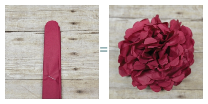 plantillas de flores, papel crêpe cortado y flor de papel en rojo
