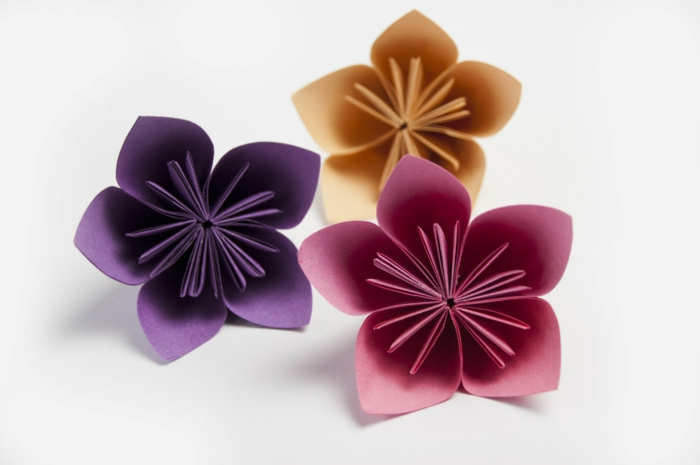 plantillas de flores, flores de cartulina en rosado y púrpura