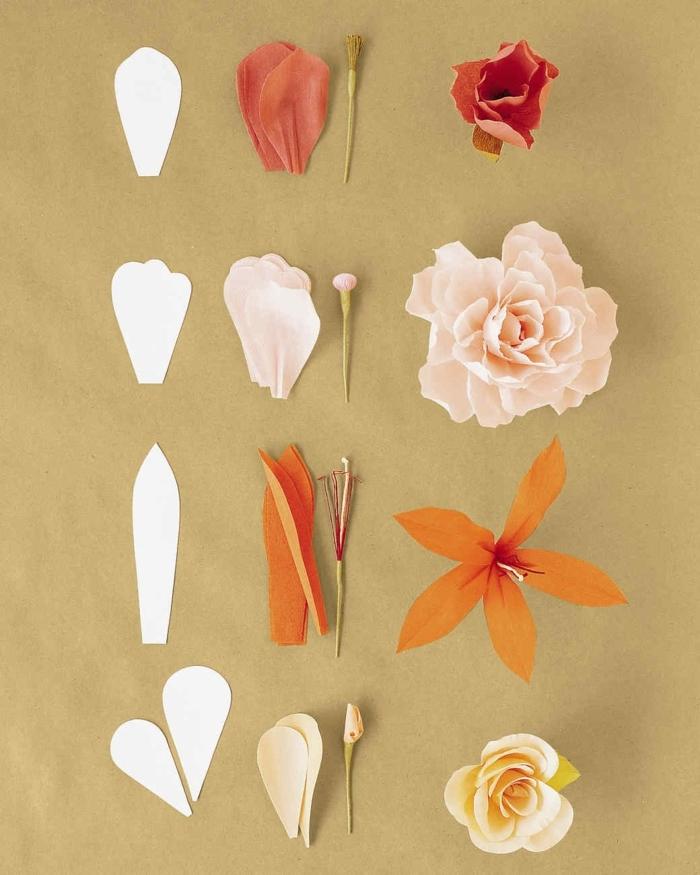 plantillas de flores, tutorial para hacer diferentes tipos de flores con plantillas de papel