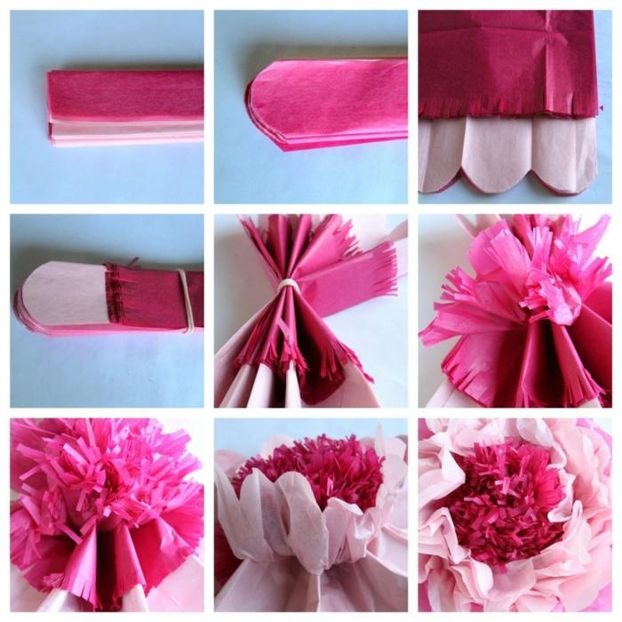 plantillas de flores, tutorial para hacer flores de papel en rosado