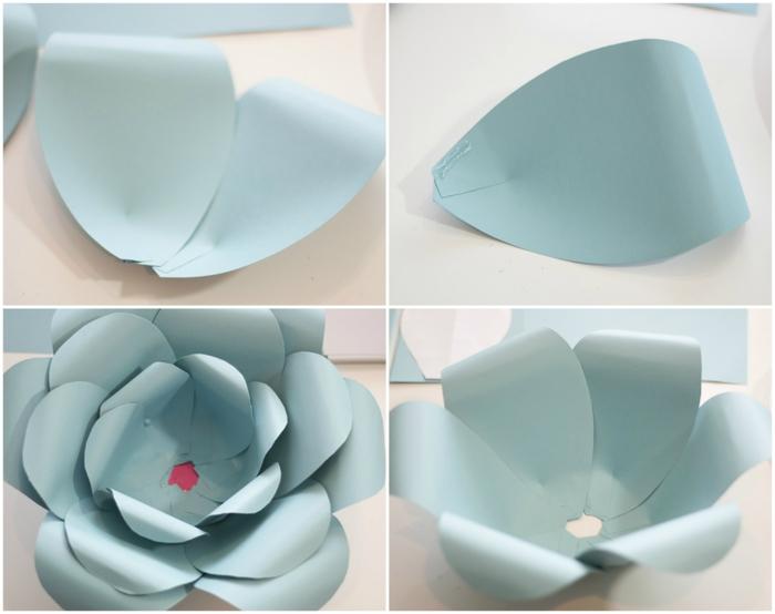 plantillas de flores, como pegar los pétalos de una flor de cartulina azul