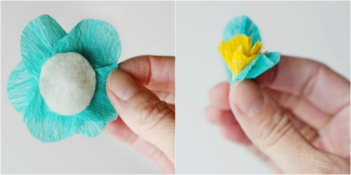 manualidades paso a paso, como hacer una flow de papel pinocho azul y amarillo