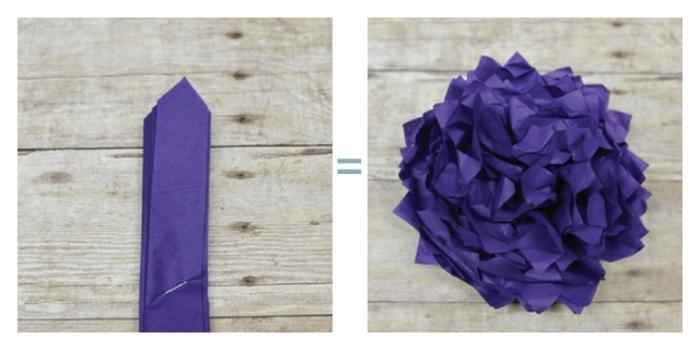 manualidades paso a paso, papel crêpe en púrpura cortado para hacer una flor