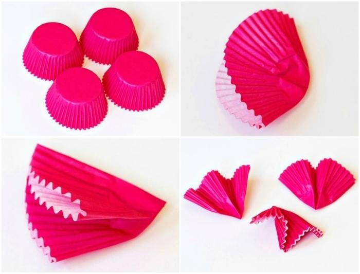 manualidades paso a paso, como doblar capacillos de panques para hacer flores de papel