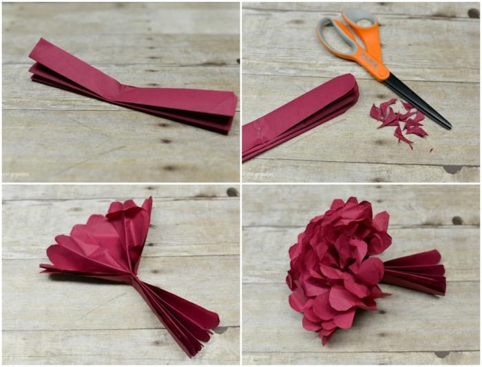 manualidades paso a paso, tijeras y papel rojo, tutorial para hacer flor de papel crepe
