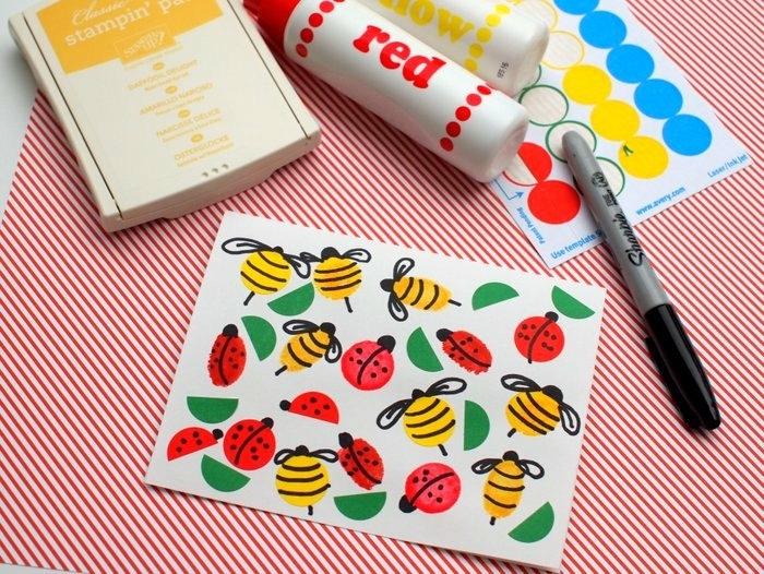 talleres para niños, dibujos infantiles, tarjetas estampadas, materiales necesarios