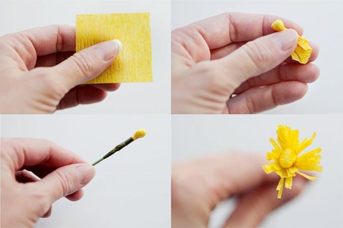 papel crepe, tutorial para hacer el estambre para una flow de papel de seda en amarillo