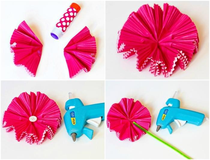 papel crêpe, materiales para hacer gerberas de capacillos de panques en rosa, pegamento, pistola encoladora
