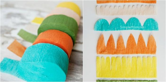 papel crepe, materiales necesarios para hacer flores de papel, papel pinocho en azul, naranja y verde
