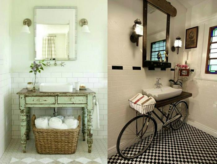 cuartos de baño pequeños, ejemplos de muebles envejecidos, bicicleta decorativa