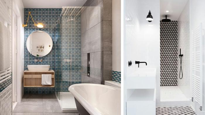 decoracion baños pequeños, azulejos modernos, baño estilizado, espejo redondo