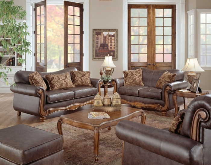 salones rusticos, decoracion con sofás y sillones piel marrón, ventanales y mesa de madera