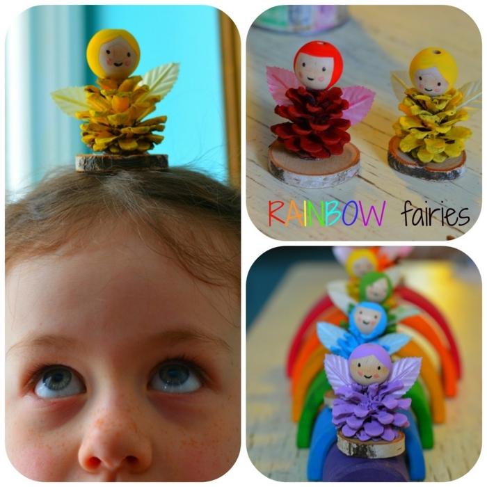 pequeocio, hadas de arco iris, hechas de piñas, figuras pequeñas en colores