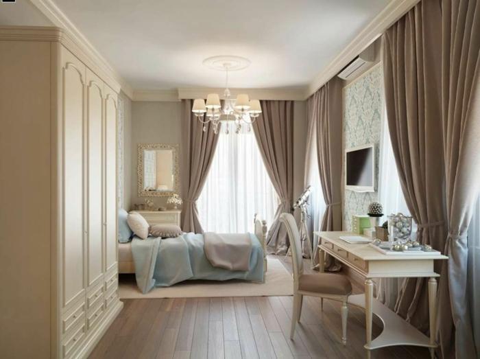cortinas dormitorio matrimonio, cortinaje moderno de color ocre pastel, habitación vintage con toque romántico, suelo de madera