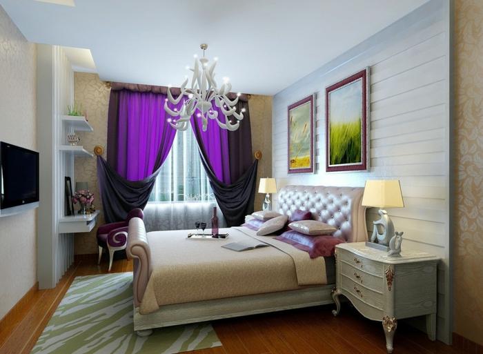 cortinas matrimonio, habitación en colores claros con enfoque en las cortinas de color lila intenso, suelo de madera