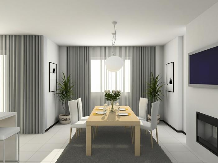 cortinas de salon, cortinas color gris con visillos aireados en blanco, bonito salón en estilo moderno con comedor