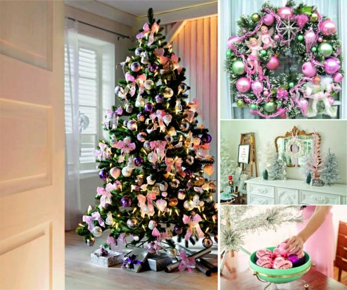 arbol de navidad original, propuesta para decoración en tonos pastel, bolas de color rosa, adornos en colores suaves
