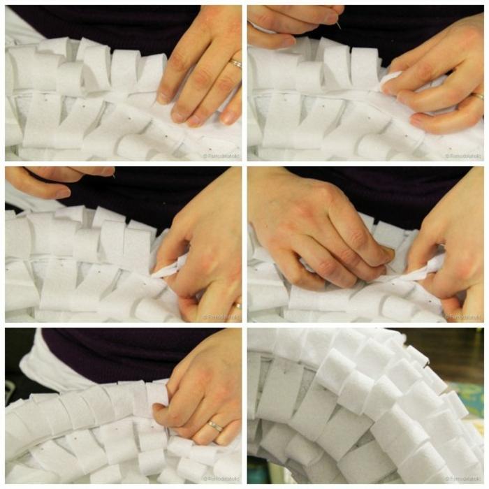 muerdago navidad, instrucciones paso a paso para coser corona de navidad blanca casera, mano de mujer cosiendo