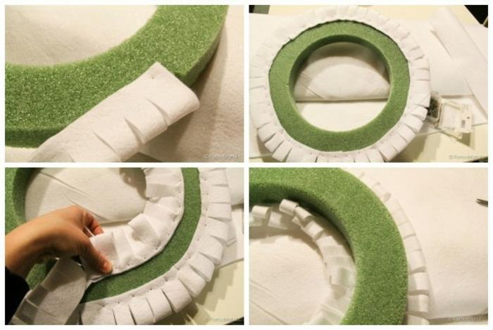 muerdago navidad, instrucciones paso a paso, coser tela blanca sobre base verde para hacer corona de navidad casera