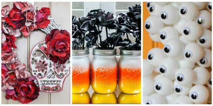 manualidades caseras, ideas exquisitas para decoración halloween, rosas rojas y negras, frascos color naranja, pelotas pequeñas como ojos