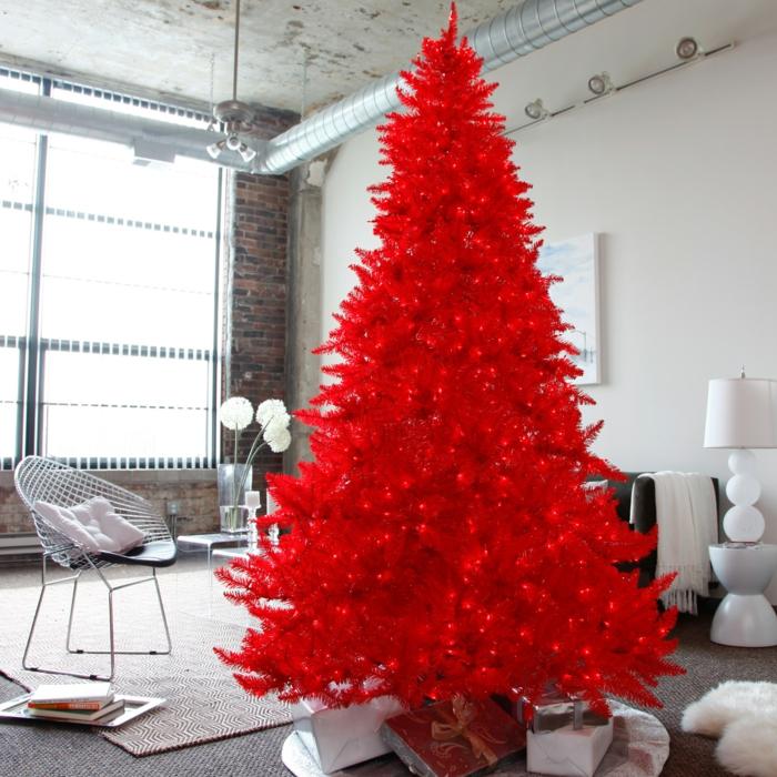 árbol de navidad, idea original para tu salón de estilo minimalista, pino artificial en color rojo fuego con pequeñas bombillas rojas