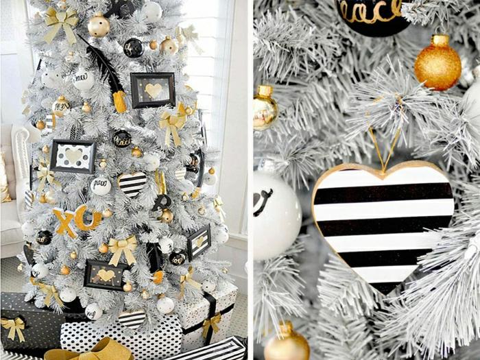 decorar árbol de navidad, ornamentos en negro, blanco y dorado, propuesta atrevida y moderna para tu salón