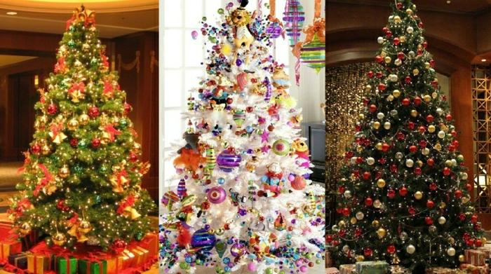 como decorar un arbol de navidad, tres tipos de árboles navideños de mucha decoración y diferentes estilos