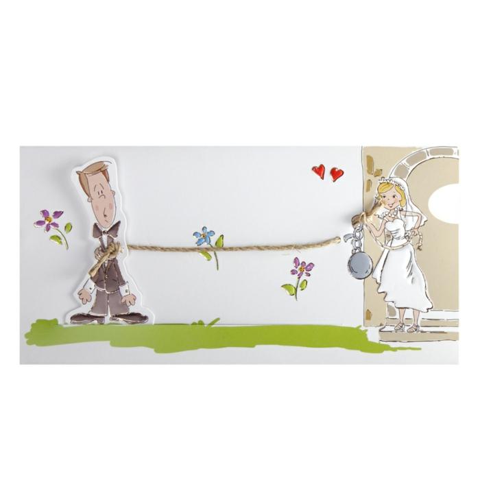 invitaciones creativas, invitación de boda divertida con caricatura de novia que encadena al novio