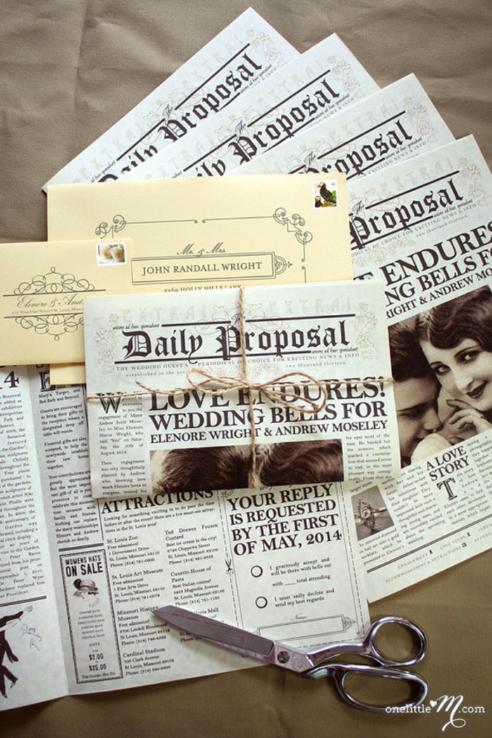 invitaciones creativas, invitación de boda vintage como periódico antiguo atado con cuerda, tijeras y foto de pareja