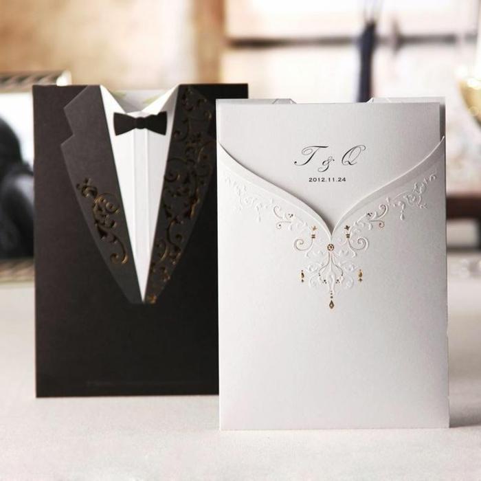 invitaciones creativas, invitaciones de boda con sobres en forma de traje y vestido de boda