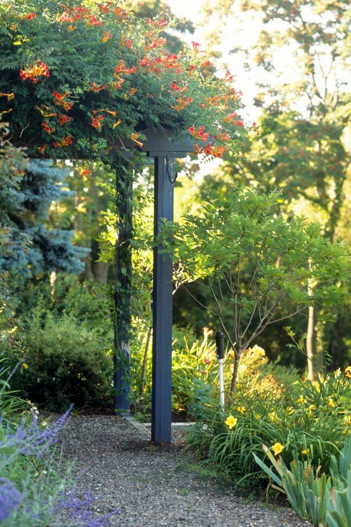 casa y jardin, emparrado de madera oscura trepado de planta con flores color naranja, pavimento empadrado, bonito jardín con mucha vegetación