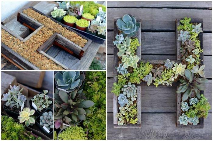 casa y jardin, decora tu patio con macetas originales hechas a mano en la forma de letras, plantadas con cactuses