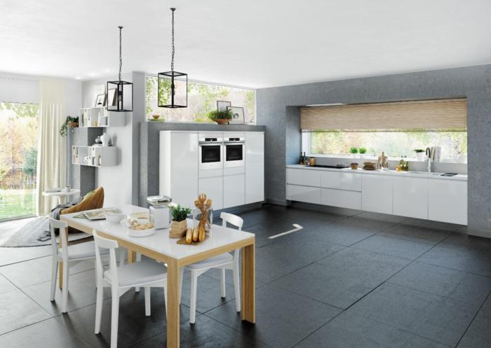 Cocinas modernas blancas y grises elegant los armario de pared en un color que contrasta con - Suelos para cocinas modernas ...