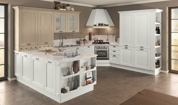 1001 ideas sobre decoraci n de cocinas blancas - Casas de madera blancas ...