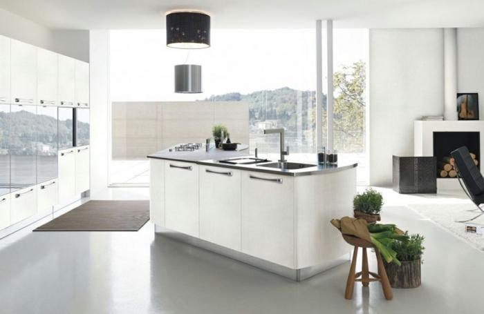1001 ideas sobre decoraci n de cocinas blancas On cocinas blancas modernas con isla