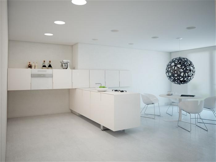 cocina blanca, cocina moderna minimalista con comedor, mesa redonda con sillas, lámpara colgante redonda con huecos