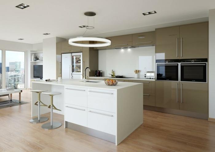 1001 ideas sobre decoraci n de cocinas blancas for Cocinas con islas en medio
