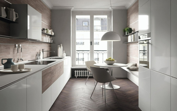 Fotos de cocinas modernas blancas cocinas modernas for Mesa redonda de madera para cocina