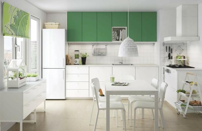 cocinas blancas, cocina con comedor en blanco y verde, pared de ladrillo blanco, estufas de gas, mesa rectangular