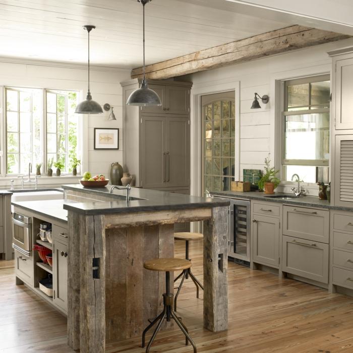 cocinas americanas, estilo industrial, colores oscuros, barra con lavabo y estantes con efecto desgastado