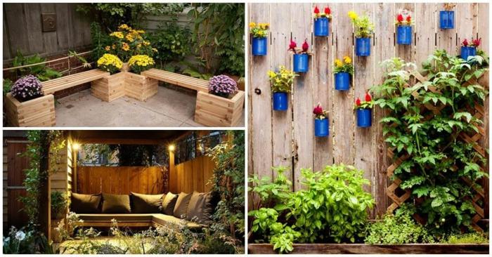 decoracion patios, ejemplos de manualidades de madera para el patio, potes pintados en azul intenso con plantas de flores amarillos y rojos