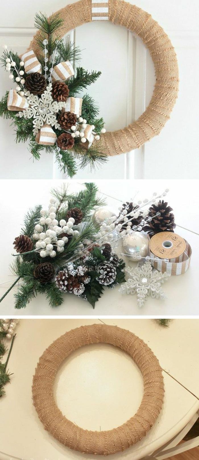 guirnaldas navideñas, corona de navidad en beige con ramas de pino, piñas y copo de nieve decorativo