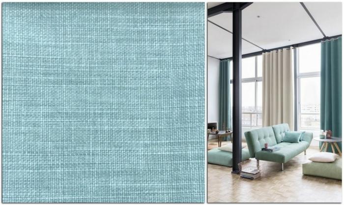 telas cortinas, cortina de materia natural, color azul celeste, muy adecuado para salones en tonos pasteles