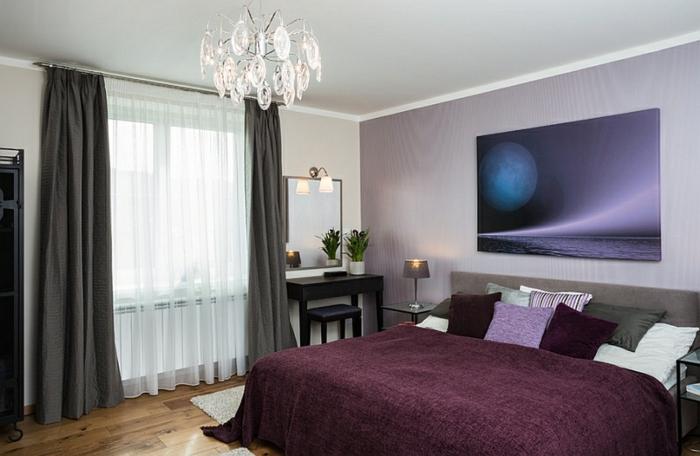 cortinas dormitorio matrimonio, tendencias 2017-2018 en los tejidos, cortinas de seda con visillo de velo blanco