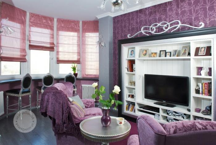 cortinas modernas, tipo de estores en rosado, variante moderno y funcional, muebles y paredes en morado intenso